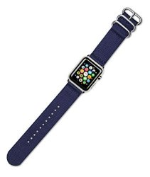 DeBeer Replacement Watch Band - 2-PIECE Nylon - Navy Blue - Fits 38MM Series 1 & 2 Apple Watch Blac