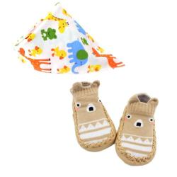 Baby Booties Set Of Two With Bib Brown 12 Cm