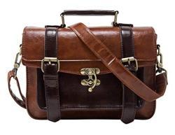 ECOSUSI Fashion Girl's Faux Leather Satchel Purse Small School Crossbody Messenger Bag Work Cross-body Bag BROWN-1