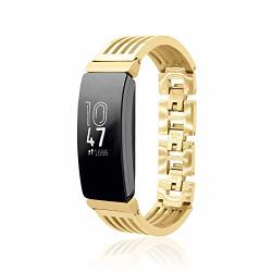 Bangle Ashbury For Fitbit Inspire Fitness Tracker By Fitjewels - Gold - Stainless Steel - Hypoallergenic - Gold Finish No Tracker