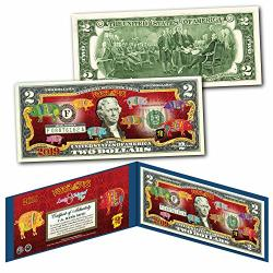The Merrick Mint 2019 Cny Lunar Chinese New Year Of The Pig Polychromatic 8 Pigs $2 U.s Bill Blue