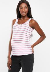Cotton On Maternity Henley Sleeveless Tank Top - Pink & White