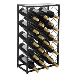 Smartxchoices 23 Bottle Black Steel Wine Rack Table With Glass Top