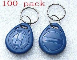 SecureControl Blue 100PCS 125KHZ Proximity Id Card Chip Tk Em 4100 Rfid Tag Key Fob Keyfobs Keychain Ring Token For Access Control
