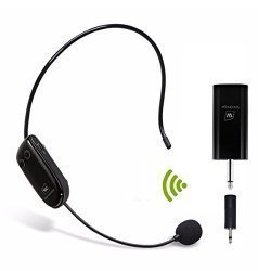 WinBridge Uhf Wireless Microphone Headset Rechargeable With Updated Receiver For Voice Amplifier Audio Sound System External Speaker Etc WB008 Pro