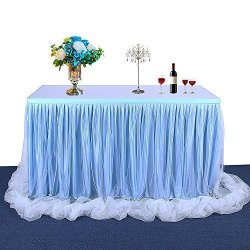 Pavlit Tulle Table Skirts Handmade Tulle Tablecloth For Round And Rectangular Table L72IN H30IN Table Covers For Party Wedding B