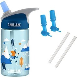 Camelbak Eddy Kids Water Bottle Alpine Adventure 0.4L With Bottle Accessory 2 Bite VALVES 2 Straws
