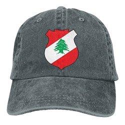 Men WKP0XKA And Wo Cap Flag Of Lebanon Hat Snap-back Hip-hop Cap Baseball Hat Head-wear Cotton Trucker Hats Asphalt