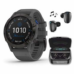 Fenix Garmin 6 Pro Solar Premium Multisport Gps Smartwatch With Included WEARABLE4U Ultimate Black Earbuds With Charging Power Bank Case Bundle Black W slate Gray