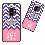 Customized Phone Case For Samsung Galaxy S9 Plus Purple Chevron Anchor Pattern Personalized For Samsung Galaxy S9 Plus