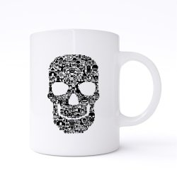 Skull Face Collage Mug