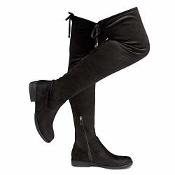 Herstyle Secret Obsession Women's Suede Thigh High Stretchy Boots- Block Heel Side Zipper Back Lace Over The Knee Casual Boots B