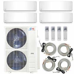 Cooper And Hunter Multi Zone Quad 4 Zone 9000 12000 12000 24000 Ductless MINI Split Air Conditioner Heat Pump Full Set Wifi Read