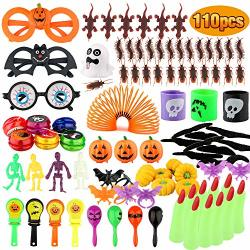 Baztoy Halloween Toys 110 Pcs Kids Party Favors Fun Gifts Fake Bugs Bat Rings Joke Toys Assortment Bulk Decoration Kits Theme Pa