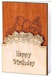 Handmade Sustainable Real Wood Happy Birthday Wishes Greeting Card With Flowers Inside Unique Original Gift Idea For Him Man Or