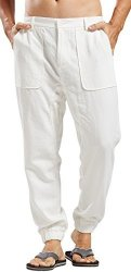 4262b35a7f Men's Utcoco Casual Side-elastic Waist Tapered Flat-front Linen Jogger Pants  XL White