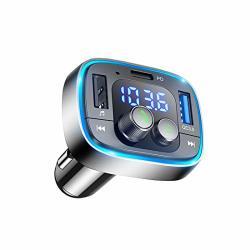 LIHAN Bluetooth Fm Transmitter For Car 7 Color LED Backlit Car Adapter QC3.0 & Usb-pd Ports Charger Wireless Radio Transmitter H