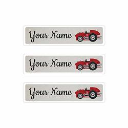 Kids Labels Peel & Stick Waterproof Durable Personalized Name Labels - 36 Big Labels Race Car Design