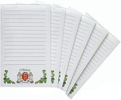 USA O'brien Irish Coat Of Arms Notepads - Set Of 6