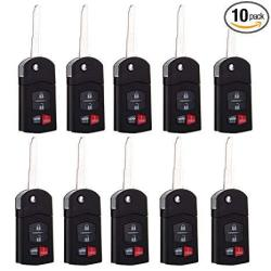 Cciyu Replacement Keyless Entry Remote Control Car Key Fob 10 X 4 Buttons Replacement Fit For Mazda Series BGBX1T478SKE125-01