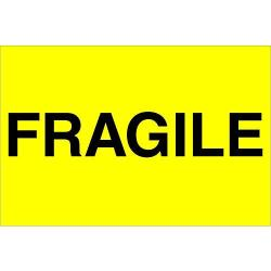"""USA Ship Now Supply SNDL1057 Tape Logic Labels """"fragile"""" 2"""" X 3"""" Fluorescent Yellow 1 Roll Of 500 Labels"""