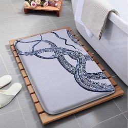 """Bathroom Rug Seavish Blue Octopus Non Slip Soft Flannel Foam Shower Mat Absorbent Kitchen Door Carpet Machine Washable 16""""W X 2"""