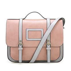 ECOSUSI Women Briefcase Vintage Crossbody Messenger Bag Pu Leather Satchel Purse Pink