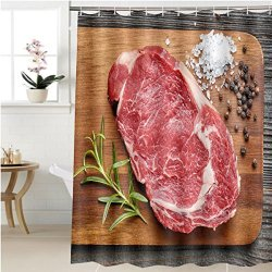 Shower Curtain Gzhihine Raw Beef Steak On Wooden Cutting Board Bathroom Accessories 72 X 84 Inches