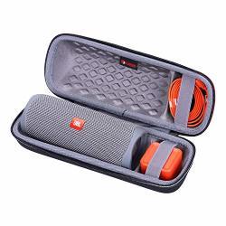Xanad Hard Case For Jbl Flip 5 Speaker - Travel Carrying Storage Protective Bag Outside Black And Inside Grey