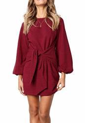 R.vivimos Women's Autumn Winter Cotton Long Sleeves Elegant Knitted Bodycon Tie Waist Sweater Pencil Dress XL Wine Red