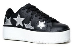 Adams J. Hero Platform Lace Up Sneaker Black Silver Star 7 B M Us