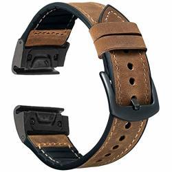 Otopo Compatible Fenix 5 5 Plus Bands & FENIX6 6 Pro Bands 22MM Quick Fit Hybrid Sport Band Vintage Leather Sweatproof Strap Wrist Band For Garmin
