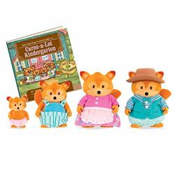 Li'l Woodzeez Fox Family Set Tippytail Foxes With Storybook 5PC Toy Set With Miniature Animal Figurines Family Toys And Books For Kids Age 3+