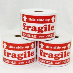 OfficeSmartLabels 3X5 This Side Up Fragile Handle With Care Labels Stickers - 2 Rolls - 300 Labels Per Roll