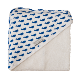 Poogy Bear Hooded Towel Blue Whales