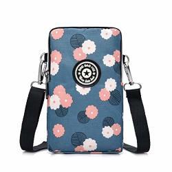 Cell Phone Purse Small Crossbody Bag Smartphone Wallet Phone Holder 3-LAYERS Zipper Cellphone Pouch Running Armband Wristlet Pur