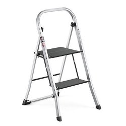 Delxo Upgrade Lightweight Aluminum 2 Step Ladder Step Stool Single-hand Carry Ladder With Handgrip Anti-slip Sturdy And Wide Pedal Multi-use For Household And Office