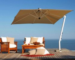 Woodline Picollo 2.5m Square Aluminium Cantilever Umbrella With Tilt