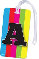 INITIAL Luggage Tag Letter A Personalized Id Tag Colorful Tv Test Pattern Design A