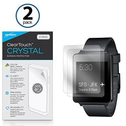 LG G Watch W100 Screen Protector Boxwave Cleartouch Crystal 2-PACK HD Film Skin - Shields From Scratches For LG G Watch W100