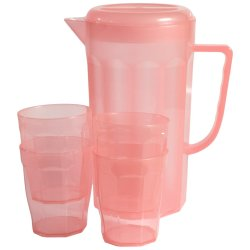 LUMOSS 6PCE Jug Set With Lid + 4 Tumblers Coral