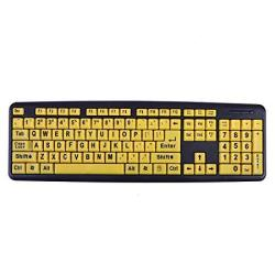 HDE Large Print Computer Keyboard Wired USB High Contrast Yellow With Black Oversized Letters For Visually Impaired Low Vision I