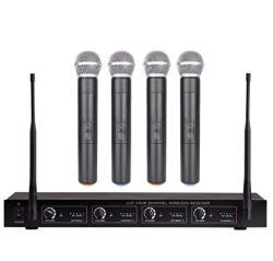4 Channel Wireless Microphone System Uhf Professional 4 Channel Cordless Mics For Ktv Karaoke Church Home Karaoke Busine