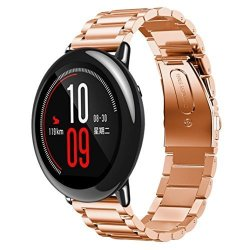 WATCH Band Kaifongfu Stainless Bracelet Smart Band Strap For Xiaomi Huami Amazfit A1602 Free Size Rose Gold