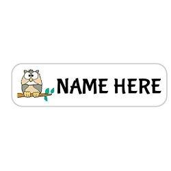Kersten Enterprises, LLC 128 Personalized Polyester Name Labels - Waterproof Custom Labels - Owl Label