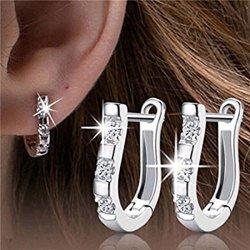 VWH Women's Sterling Silver Ear Hoop Earrings Ear Stud