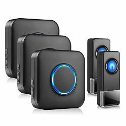 Wireless Door Bell Bitiwend Waterpoof Doorbell Chime Operating At 1000FT With 52 Tunes 4 Volume Levels LED Flash Classroom Doorbell Home Business Doorbell Chime 2 Push Buttons & 3 Receivers