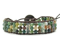 LAIWU JEWELRY Multi-layer Braided Leather Wrap Bracelet With Multi-color 4MM Rounded Agate Beads 1 Wrap Triple-row