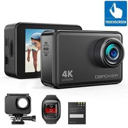 Dbpower EX7000 Sports Action Camera 4K 14MP Touchscreen Waterproof Camera 170 Degree Wide Angle 2.4G Remote Control And Accessories Kit
