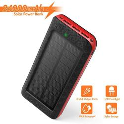 Solar Charger 24000MAH Portable Phone Charger External Battery Pack Backup Charger High-speed 5V 2.1A Tri-usb Output Ports Flash